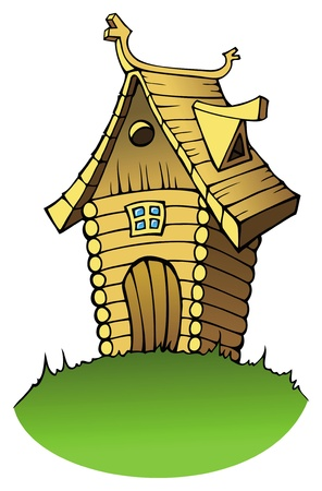 Wooden house or cottage in cartoon style, vector illustration