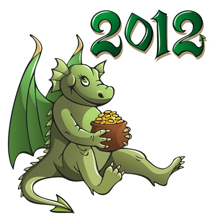 Funny cartoon dragon, symbol of 2012 year, holding pot with golden coins, vector illustration Vector