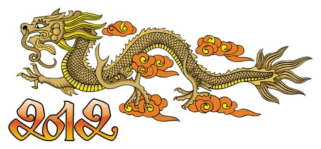 Flying Chinese dragon, symbol of 2012 year, vector illustration Stock Vector - 11408762