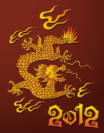 Traditional Chinese dragon, symbol of 2012 year, vector illustration Vector