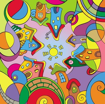 urban colors: Ciudad de divertidos dibujos animados en el círculo, ilustración vectorial