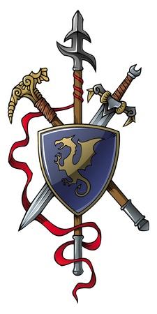 chevalerie: Armoiries: lance, �p�e, marteau et son bouclier, illustration vectorielle