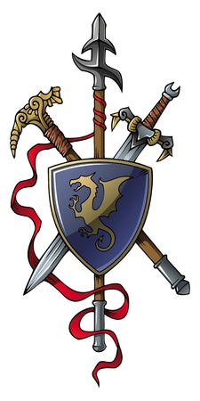 spear: Coat of arms: spear, sword, hammer and shield, vector illustration