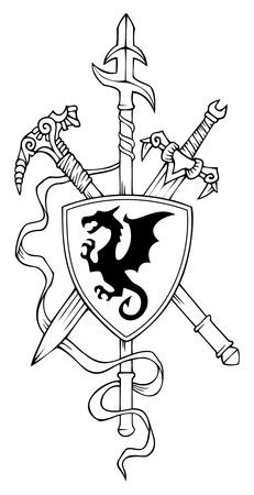 espadas medievales: Escudo de armas: lanza, espada, escudo y el martillo, ilustración vectorial