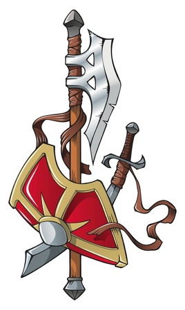 leather coat: Coat of arms: halberd, scimitar and shield, vector illustration