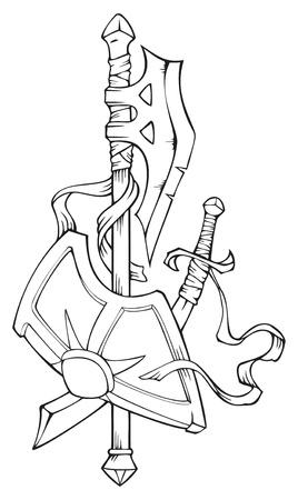 alabarda: Stemma: alabarda, scimitarra e scudo, illustrazione vettoriale