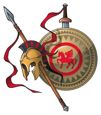 pegaso: Escudo de armas griego: casco, lanza, espada y escudo, ilustraci�n vectorial