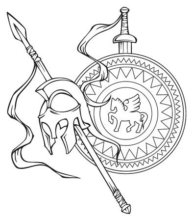 Griekse wapen: helm, speer, zwaard en schild, vector illustratie