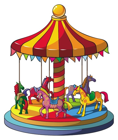 amusement: Children carousel with colorful horses, merry go round, vector illustration