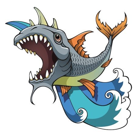 gills: Monster fish with teeth and horns, ocean waves background, vector illustration