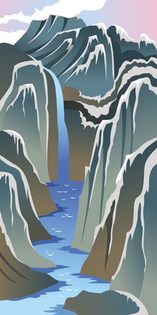 river rock: Mountains and river, Chinese national painting style, landscape, vector illustration