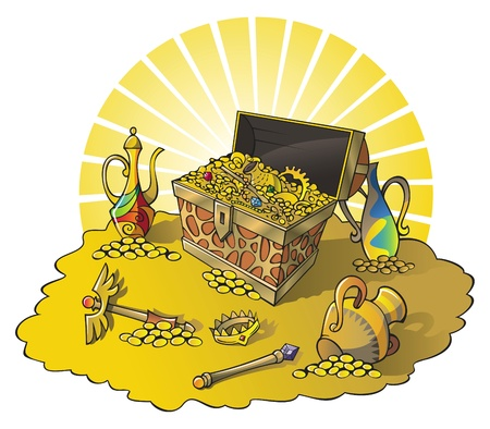 Treasure chest and other wealth, vector illustration Illustration