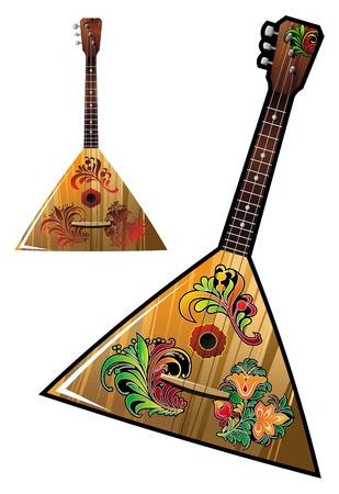 Russian national music instrument - balalaika   with flower ornaments, vector illustration Illustration