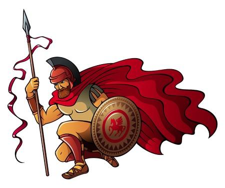 soldati romani: Greco o guerriero spartano con lancia e scudo, illustrazione vettoriale