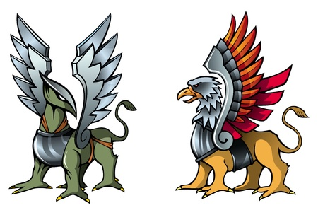 mythical: Two fantastic griffins, in armor, with metal wings, vector illustration
