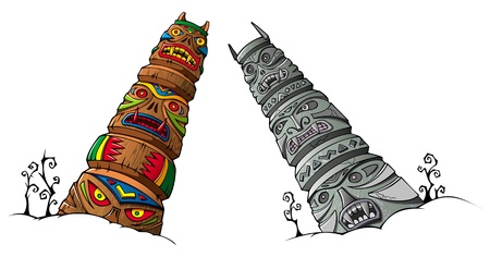 Wooden and stone scary idols  totems  of ancient clans and tribes, vector illustration Illustration