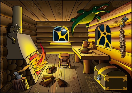 cartoon fireplace: Witch house interior, lit by fire from chimney, vector illustration