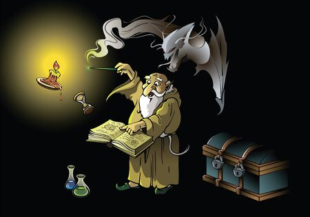 magus: A wizard summoning ghostly demon, casting spells with magic wand, vector illustration