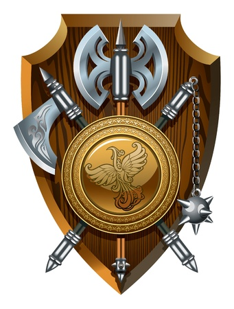 Coat of arms  labrys, axe, Morgenstern and shield,