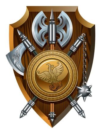 chevalerie: Manteau de labrys armes, la hache, Morgenstern et le bouclier,