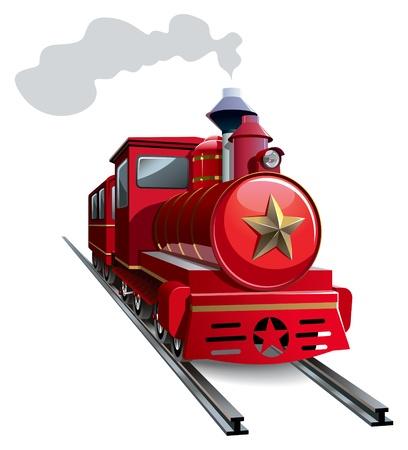 Vieja locomotora de vapor con la estrella de oro,