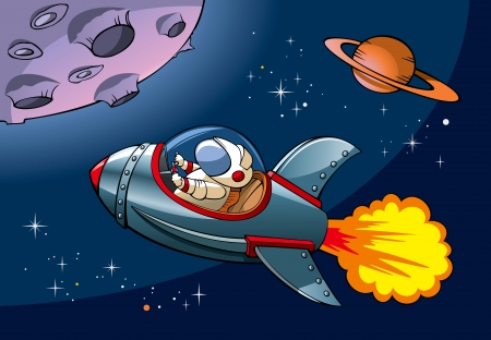 Spaceship with astronaut approaching a planet, Vector