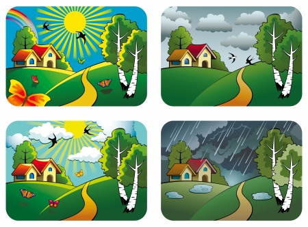 Set of different weather landscapes: sunny, cloudy, overcast and rainy, Vector