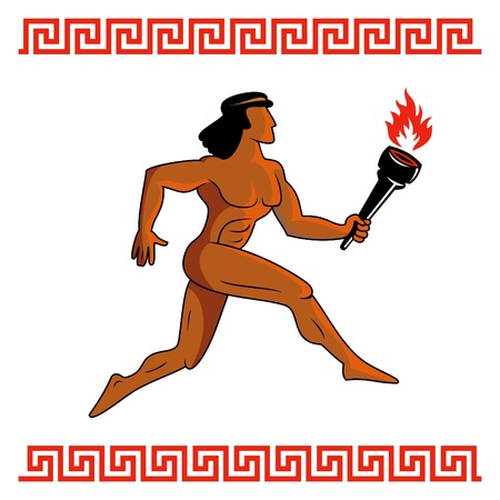 Athlete of ancient Greece running with Olympic flame Vector