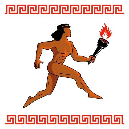 antica grecia: Atleta della Grecia antica in esecuzione con la fiamma olimpica