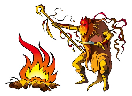 cult tradition: Tribal priest  shaman  conjuring above fire to predict the future Illustration