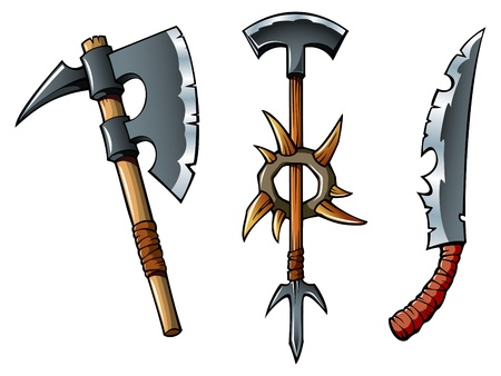 barbarian: Ancient weapon of barbarians – axes and sword, vector illustration