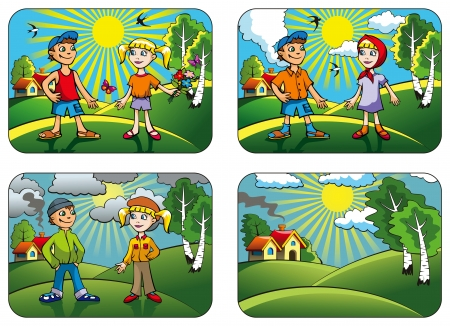 sunny cold days: Set of different weather conditions: hot, warmly, cool and windy, vector illustration