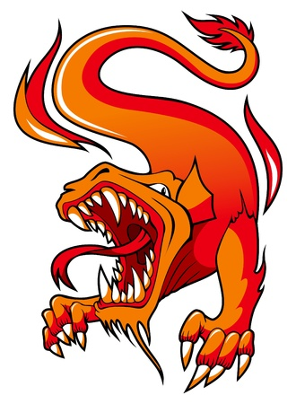 Dragon with open mouth surrounded by fire, illustration Vector