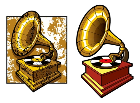 Old gramophone isolated and grunge background, illustration Vector