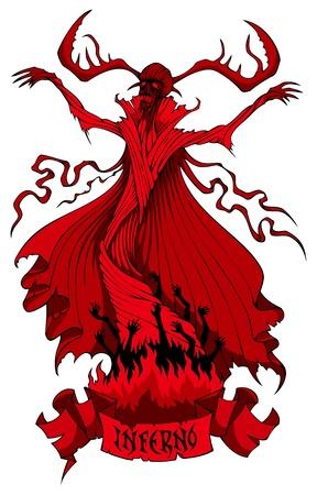 summons: Hell demon summons souls of sinners, illustration