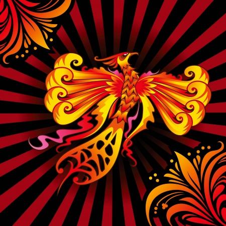 ave fenix: Mítico Phoenix o un pájaro en llamas, la ilustración