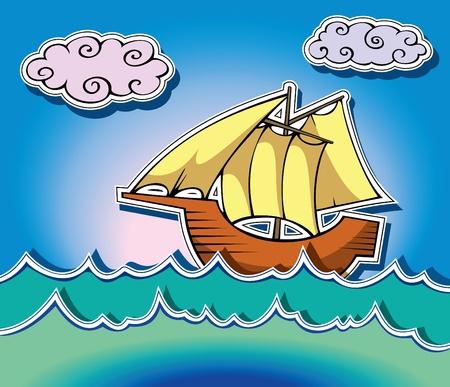 대양의: 해양 파도의 스타일 범선, 그림 일러스트