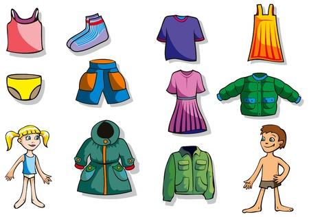 ropa de verano: Conjunto de ropa de dibujos animados para los ni�os y ni�as, ilustraci�n vectorial Vectores
