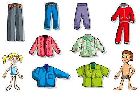 casual wear: Set of cartoon clothes for girl and boy, vector illustration
