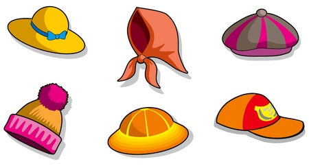 Set of different cartoon headdresses, vector illustration