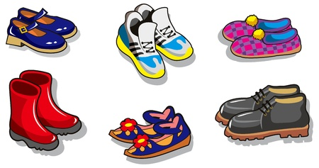 Set of different cartoon shoes, vector illustration Illustration