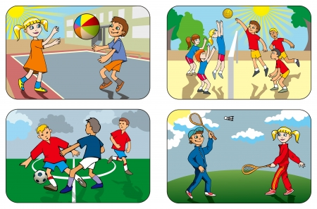 Children play different outdoor games, volleyball, soccer, badminton, vector illustration