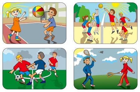deportes caricatura: Los niños juegan diferentes juegos al aire libre, voleibol, fútbol, ??bádminton, ilustración vectorial