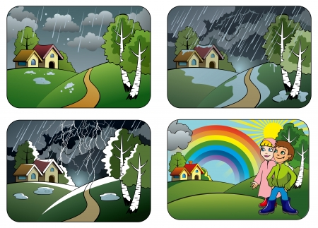 Set of different weather conditions: hail, downpour, thunderstorm and rainbow, vector illustration Vector