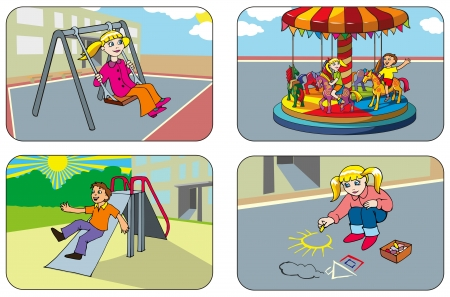 swing set: Kids playing in the playground Illustration