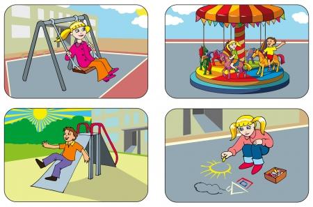 rutsche: Kinder spielen auf dem Spielplatz