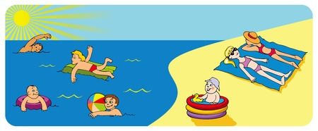 Children relaxing on a beach, swimming and playing  Vector