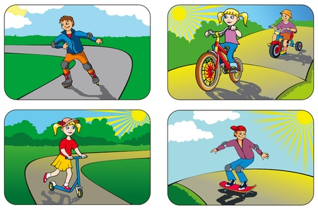 playground ride: Children riding different vehicles and equipment  Illustration