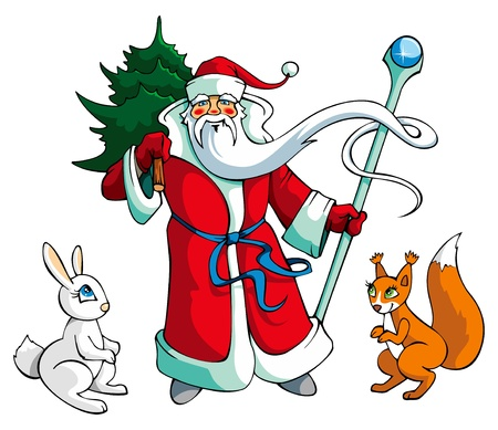 christmastree: Santa Claus carrying Christmas-tree, with rabbit and squirrel