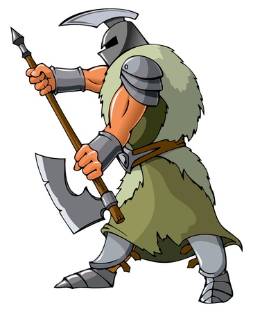 Knight attacking with an axe, vector illustration Vector